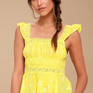 Free People Tops - Free People Beautiful Fleurs lace top in yellow